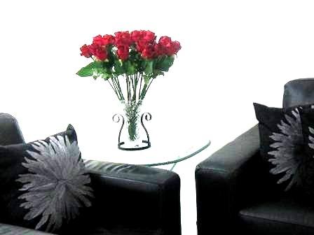Elegant Red Roses near black sofa