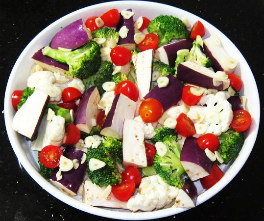 Ingredients for Baked Veggies with Traditional Italian Mozzarella Cheese Recipe