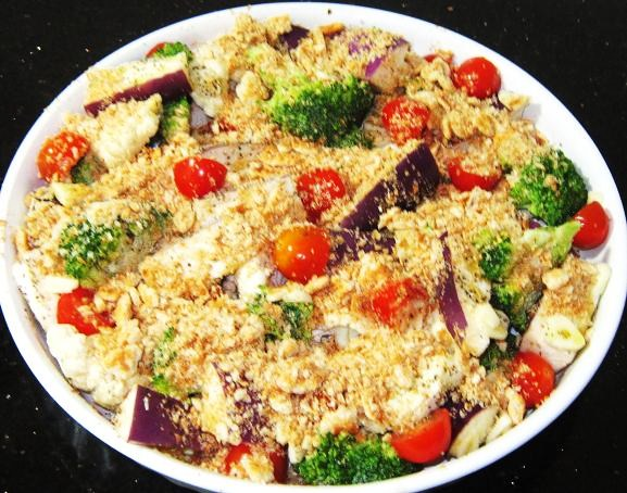 Sprinkle wheat crackers crumbs on top of the veggies