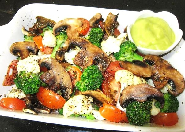 Baked Mushroom and Veggies With Avocado Dressing