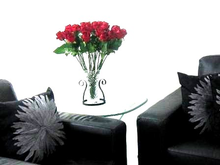 Elegant Red Roses near black sofa