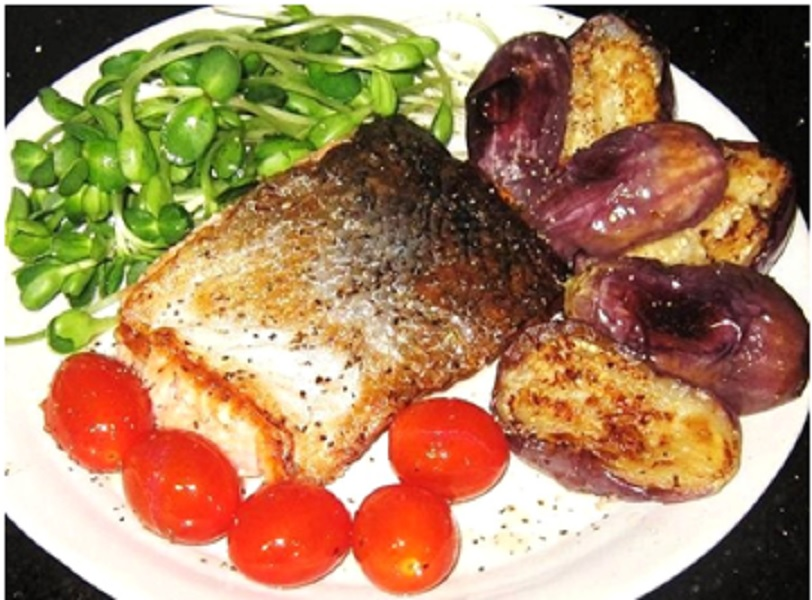 Fried Salmon with Brinjal and Sun flower sprouts